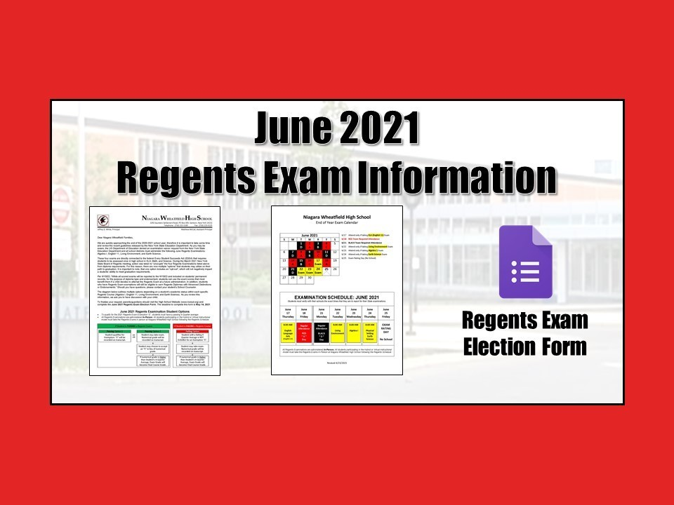 June 2021 Regents Exam Information
